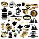 Stock Illustration of set of different food - bread, pie, biscuit, cakes, eaggs, omelette, cheese,