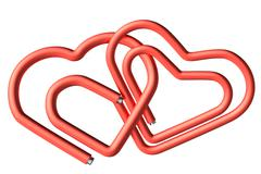 red paperclips heart couple - stock photo