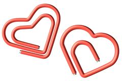 two red paperclips heart - stock photo