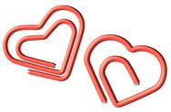 Stock Photo of two red paperclips heart