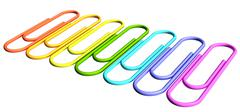 colored paperclips diagonal perspective row - stock photo