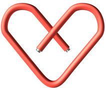 red paper-clip heart - stock photo
