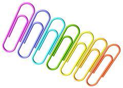 Colored paperclips diagonal row Stock Photos