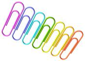 Stock Photo of colored paperclips diagonal row