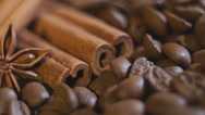 Stock Video Footage of Coffee beans and cinnamon