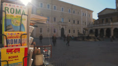 View at the Santa Maria in Trastevere square in Rome, Italy Stock Footage