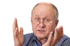 Senior man discussing and gesturings. emotional portraits series. isolated on Stock Photos