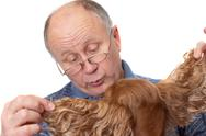 Stock Photo of bald senior man with dog. emotional portraits series. isolated on white.