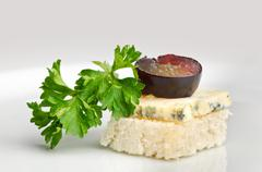 Canape with roquefort cheese Stock Photos