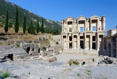 celsius library at ancient ephesus - stock photo