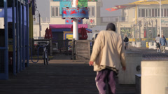 Homeless at the Santa Monica Pier, Los Angeles  (Cities) Stock Footage