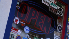 Illuminated Open Sign, Route 66, Seligman (Landscape)	 Stock Footage