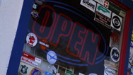 Stock Video Footage of Illuminated Open Sign, Route 66, Seligman (Landscape)