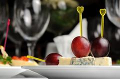canape with roquefort cheese - stock photo