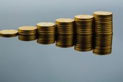stacked coins, upward trend - stock photo