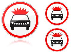 transportation of explosives and flammable substances is forbidden - stock illustration