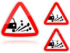 variants a blowout of gravel - road sign - stock illustration