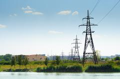 Industrial landscape, power lines. Stock Photos