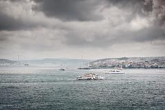 Dark clouds over bosphorus Stock Photos