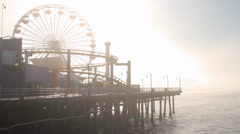 Fog at the Santa Monica Pier, End Of Route 66, Los Angeles  (Cities) Stock Footage