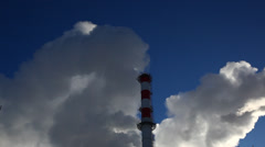 Beautiful fast moving smoke from industrial chimneys Stock Footage