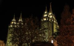 Mormon Temple During Christmas - stock photo