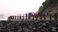 Jogging People, Golden Gate Bridge, San Francisco (Cities) Stock Footage