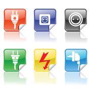 electric icons - stock photo