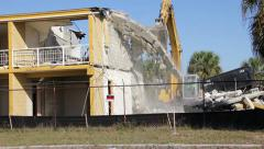 Old building being demolished 1 Stock Footage