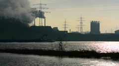 Ship transport routes through the industrial zone Stock Footage