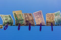 Money On The Washing Line - stock photo