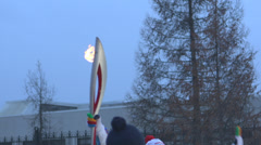 Olimpic flame Sochi 2014 Stock Footage