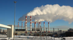 Smoke rising from coal power plant, polluting the environment Stock Footage