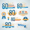 Stock Illustration of Set of Anniversary-80 emblems