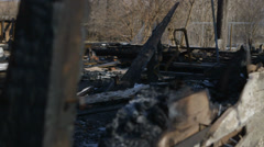 Burned Down Home, Detroit Arson Arsonist Fire Fire Department First Responders Stock Footage