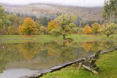 Adirondack Chair on Catskills Pond Stock Photos
