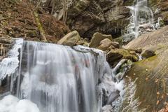 Icy Buttermilk Falls in Peekamoose Gorge - stock photo