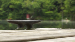 Dock Cleat on Lake Stock Footage