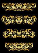 golden floral embellishments - stock illustration