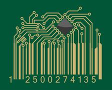 Bar code with computer motherboard elements Stock Illustration
