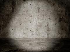 concrete room, lightspot empty and dark - stock photo