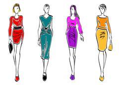 Casual fashion models Stock Illustration