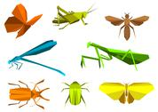 Stock Illustration of insects in origami paper elements
