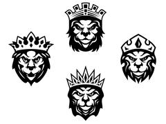 heraldry lions with crowns - stock illustration