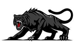 danger black panther - stock illustration
