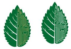green leaf with computer and motherboard elements - stock illustration
