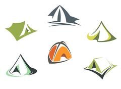 Travel and adventure camp tents Stock Illustration