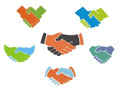 business handshake symbols and icons - stock illustration