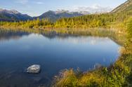 Stock Photo of Vermillion Lake and Mt. Bourgeau
