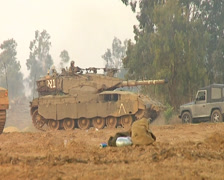 Israeli Tanks on Gaza Border Stock Footage